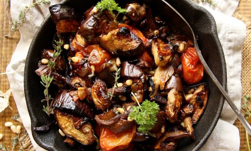 Baked Mushrooms And Aubergines