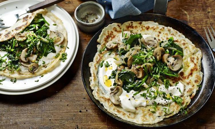 Spinach And Mushroom Pancake